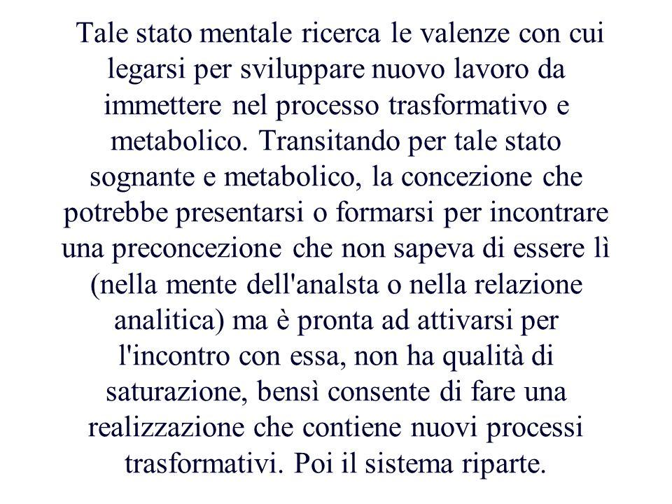 Tale stato mentale ricerca le valenze con cui legarsi per sviluppare nuovo lavoro da immettere nel processo trasformativo e metabolico. Transitando pe