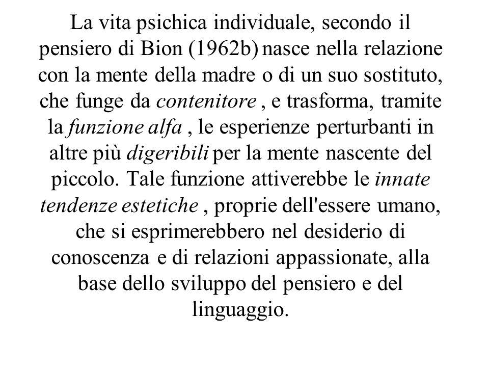 La vita psichica individuale, secondo il pensiero di Bion (1962b) nasce nella relazione con la mente della madre o di un suo sostituto, che funge da c
