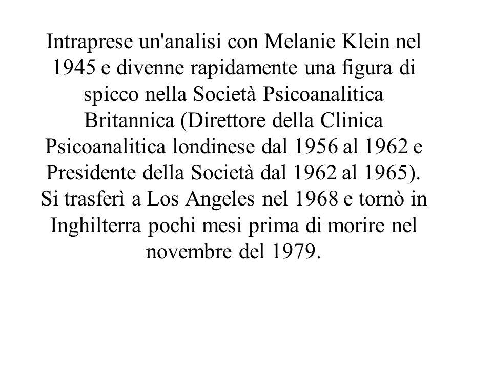 Intraprese un'analisi con Melanie Klein nel 1945 e divenne rapidamente una figura di spicco nella Società Psicoanalitica Britannica (Direttore della C