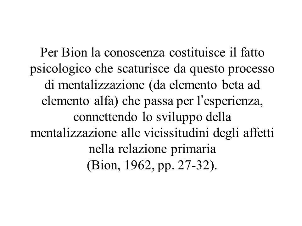 Per Bion la conoscenza costituisce il fatto psicologico che scaturisce da questo processo di mentalizzazione (da elemento beta ad elemento alfa) che p
