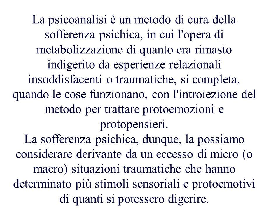 La psicoanalisi è un metodo di cura della sofferenza psichica, in cui l'opera di metabolizzazione di quanto era rimasto indigerito da esperienze relaz