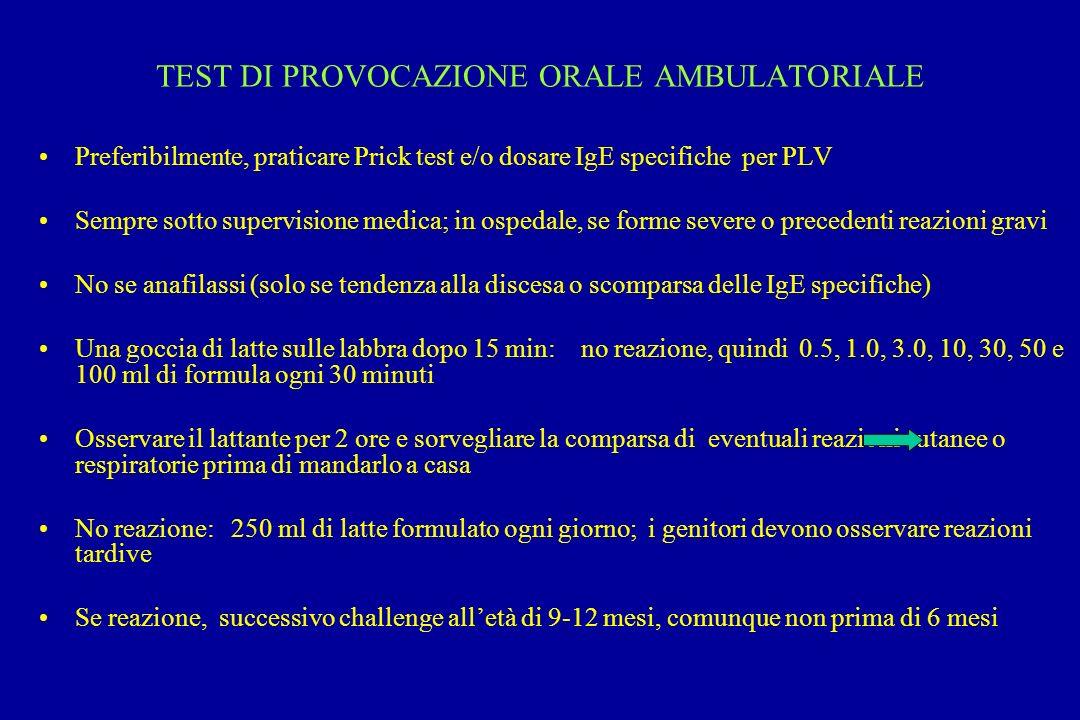 TEST DI PROVOCAZIONE ORALE AMBULATORIALE Preferibilmente, praticare Prick test e/o dosare IgE specifiche per PLV Sempre sotto supervisione medica; in
