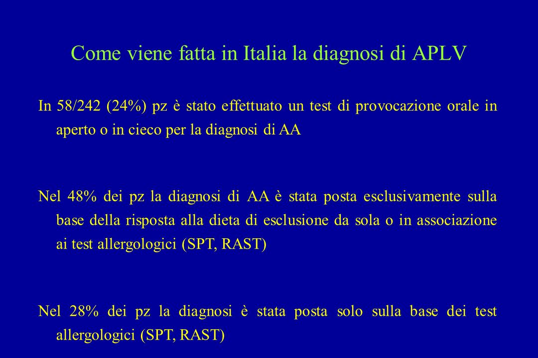 Come viene fatta in Italia la diagnosi di APLV In 58/242 (24%) pz è stato effettuato un test di provocazione orale in aperto o in cieco per la diagnos