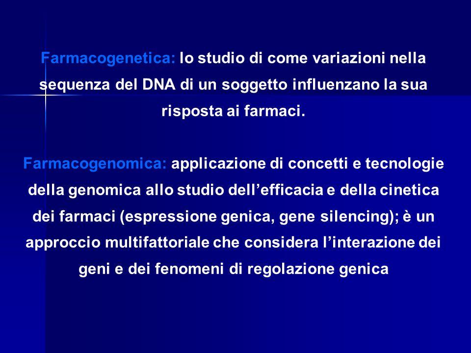 Farmacogenetica: lo studio di come variazioni nella sequenza del DNA di un soggetto influenzano la sua risposta ai farmaci. Farmacogenomica: applicazi