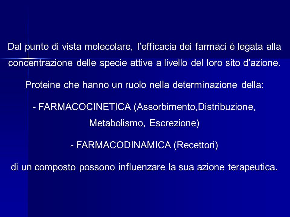 Dal punto di vista molecolare, lefficacia dei farmaci è legata alla concentrazione delle specie attive a livello del loro sito dazione. Proteine che h