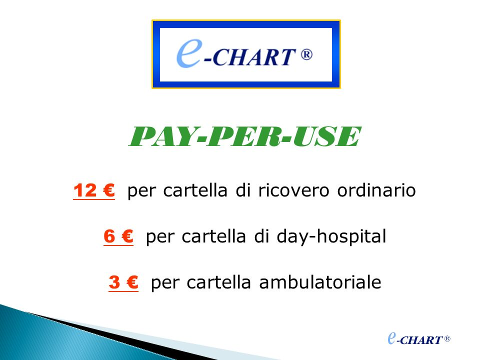 PAY-PER-USE 12 per cartella di ricovero ordinario 6 per cartella di day-hospital 3 per cartella ambulatoriale