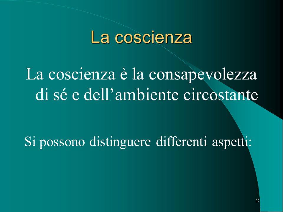 2 La coscienza La coscienza è la consapevolezza di sé e dellambiente circostante Si possono distinguere differenti aspetti: