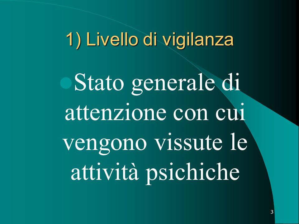 3 1) Livello di vigilanza Stato generale di attenzione con cui vengono vissute le attività psichiche