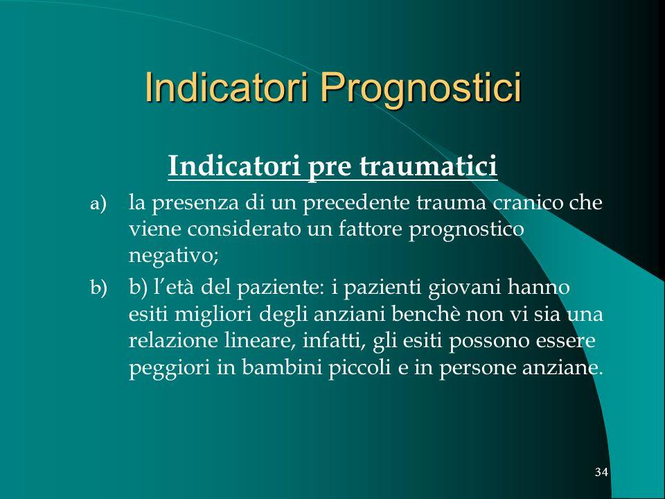 33 Indicatori Prognostici Indicatori pre traumatici Indicatori di gravità del trauma Indicatori relativi alla evoluzione clinica post-lesionale