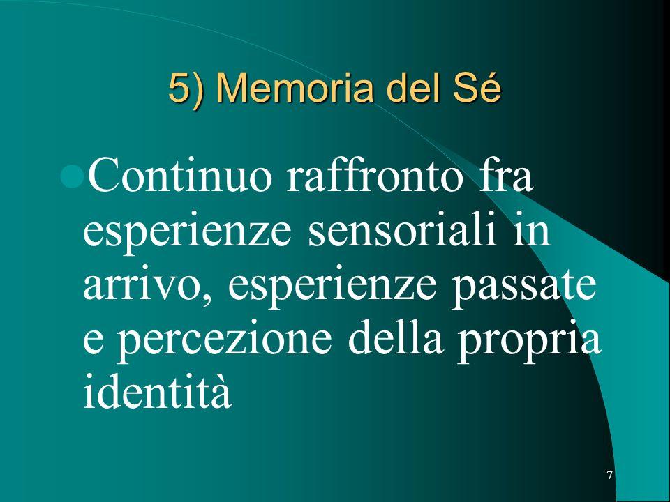 7 5) Memoria del Sé Continuo raffronto fra esperienze sensoriali in arrivo, esperienze passate e percezione della propria identità