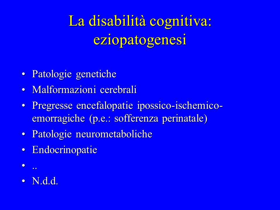 La disabilità cognitiva: strumenti diagnostici AnamnesiAnamnesi Valutazione clinica (esame neurologico, valutazione genetica)Valutazione clinica (esame neurologico, valutazione genetica) Accurata valutazione psicologicaAccurata valutazione psicologica Esami strumentali (neuroimaging, indagini elettrofisiologiche, esame cromosomico, genetica molecolare, esami neurometabolici, ecc.)Esami strumentali (neuroimaging, indagini elettrofisiologiche, esame cromosomico, genetica molecolare, esami neurometabolici, ecc.)