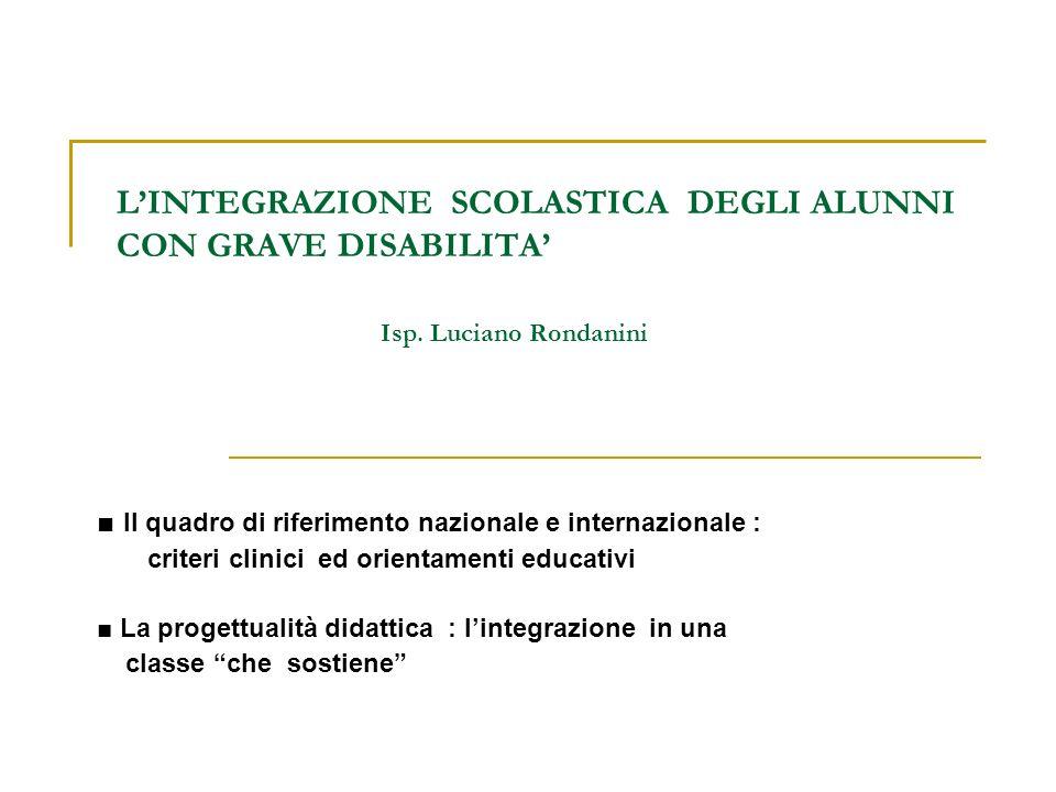 IL QUADRO NAZIONALE SENTENZA DELLA CORTE COSTITUZIONALE 215/ 1987 …E ormai superata in sede scientifica la concezione di una radicale irrecuperabilità degli handicappati.