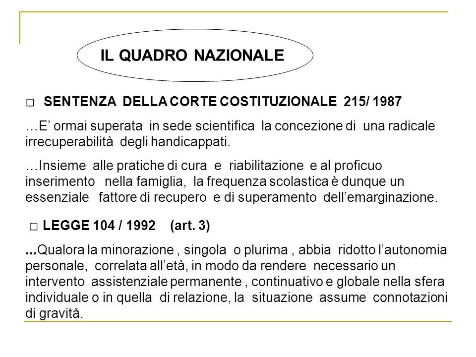 IL QUADRO NAZIONALE SENTENZA DELLA CORTE COSTITUZIONALE 215/ 1987 …E ormai superata in sede scientifica la concezione di una radicale irrecuperabilità