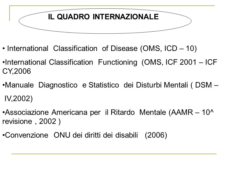 IL QUADRO INTERNAZIONALE International Classification of Disease (OMS, ICD – 10) International Classification Functioning (OMS, ICF 2001 – ICF CY,2006