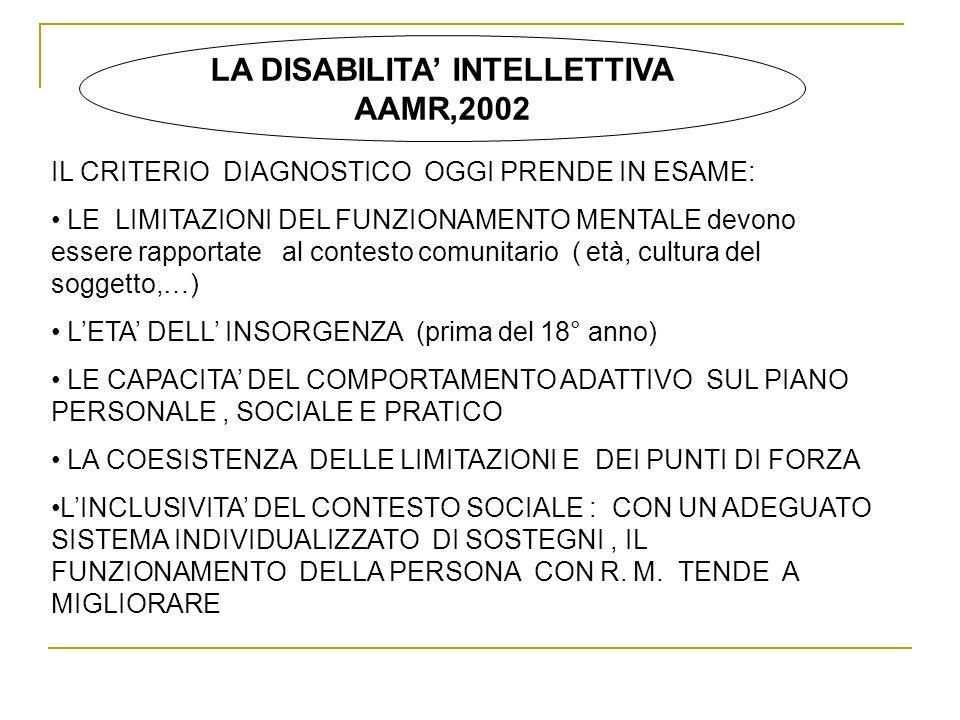 LA DISABILITA INTELLETTIVA AAMR,2002 IL CRITERIO DIAGNOSTICO OGGI PRENDE IN ESAME: LE LIMITAZIONI DEL FUNZIONAMENTO MENTALE devono essere rapportate a