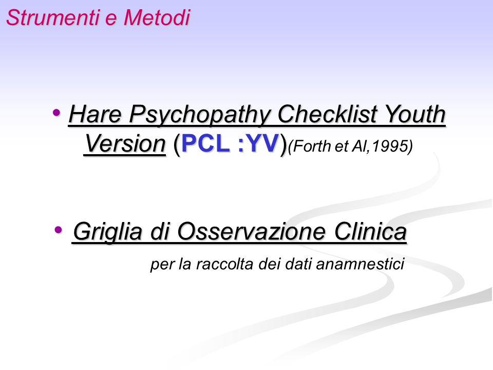 Strumenti e Metodi Griglia di Osservazione Clinica Griglia di Osservazione Clinica per la raccolta dei dati anamnestici Hare Psychopathy Checklist You