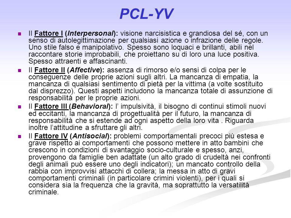 PCL-YV Il Fattore I (Interpersonal): visione narcisistica e grandiosa del sé, con un senso di autolegittimazione per qualsiasi azione o infrazione del