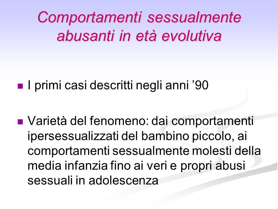 Comportamenti sessualmente abusanti in età evolutiva I primi casi descritti negli anni 90 Varietà del fenomeno: dai comportamenti ipersessualizzati de