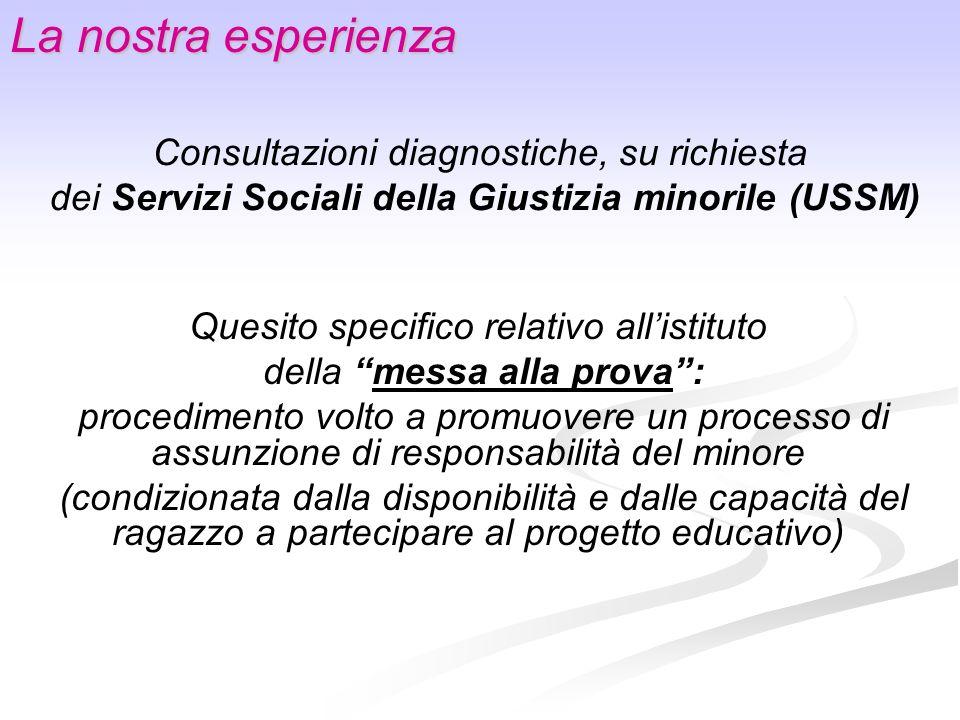 La nostra esperienza Consultazioni diagnostiche, su richiesta dei Servizi Sociali della Giustizia minorile (USSM) Quesito specifico relativo allistitu