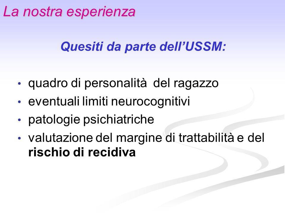 La nostra esperienza Quesiti da parte dellUSSM: quadro di personalità del ragazzo eventuali limiti neurocognitivi patologie psichiatriche valutazione