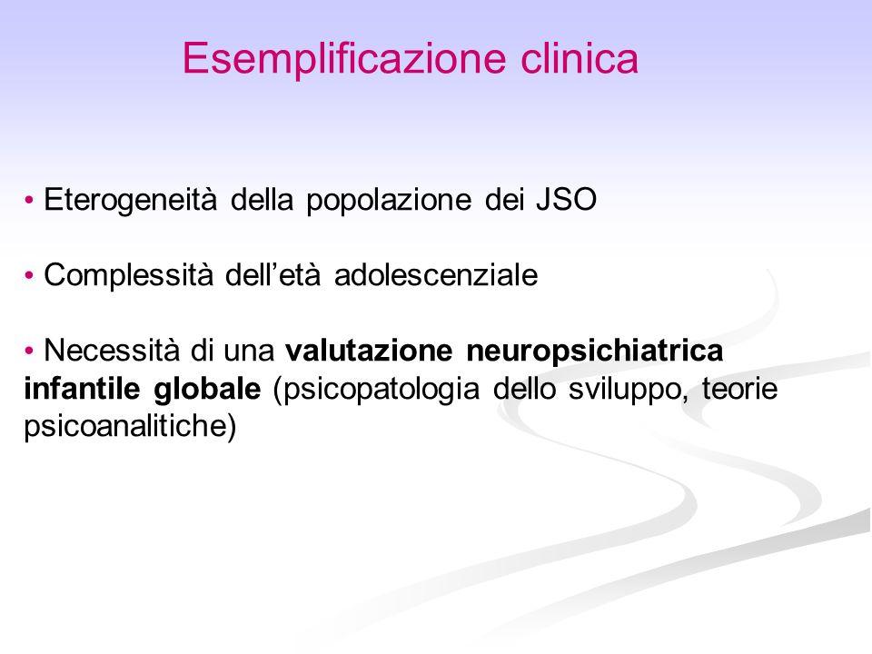 Esemplificazione clinica Eterogeneità della popolazione dei JSO Complessità delletà adolescenziale Necessità di una valutazione neuropsichiatrica infa