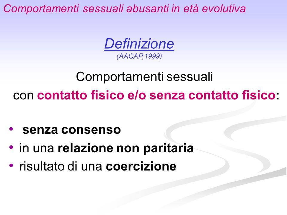 Comportamenti sessuali con contatto fisico e/o senza contatto fisico: senza consenso in una relazione non paritaria risultato di una coercizione Compo