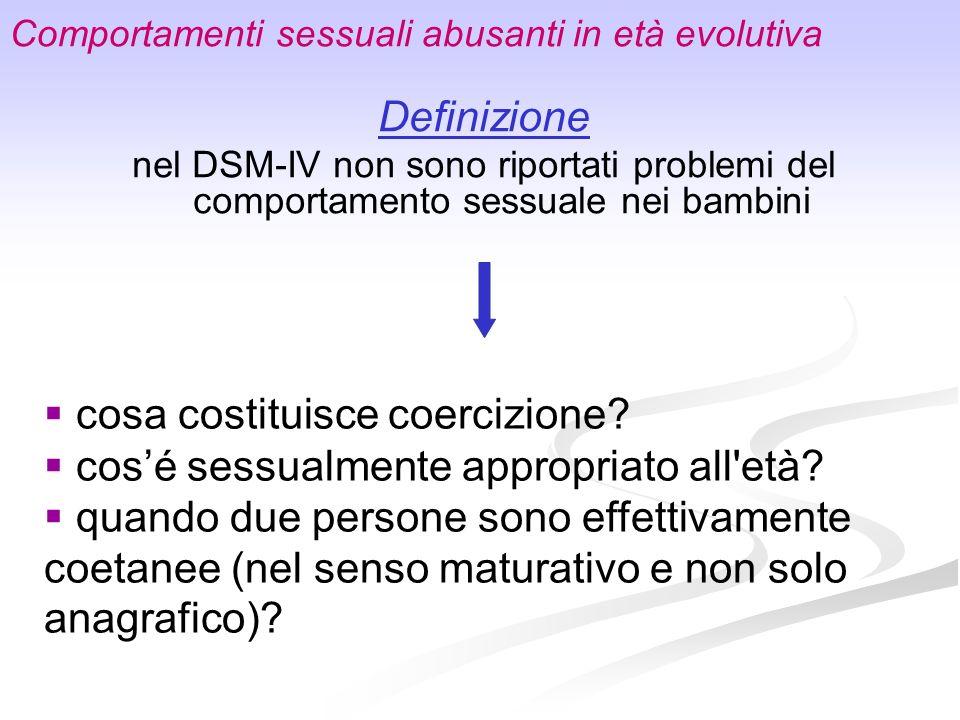 Comportamenti sessuali abusanti in età evolutiva Definizione nel DSM-IV non sono riportati problemi del comportamento sessuale nei bambini cosa costit