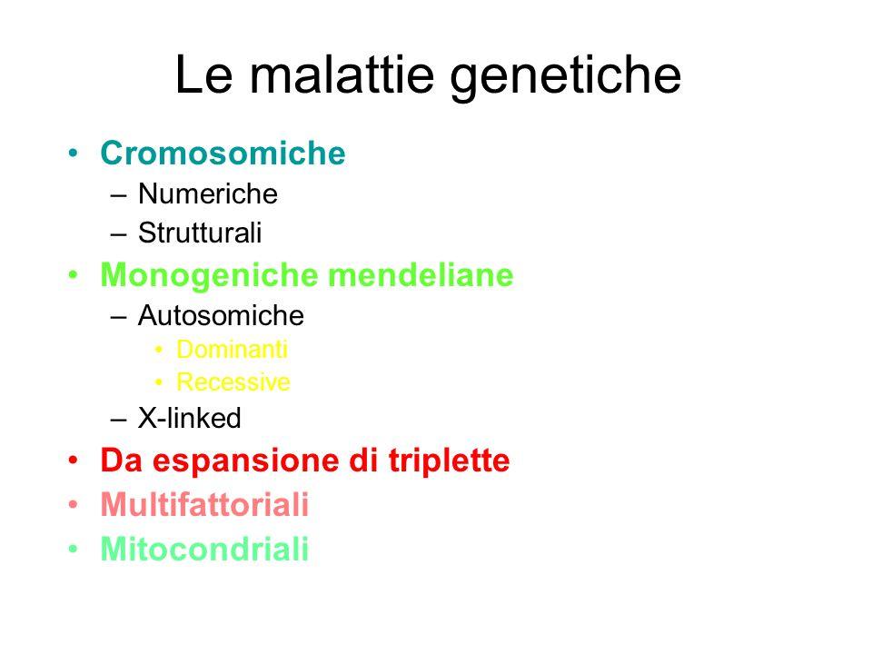Le malattie genetiche Cromosomiche –Numeriche –Strutturali Monogeniche mendeliane –Autosomiche Dominanti Recessive –X-linked Da espansione di triplett