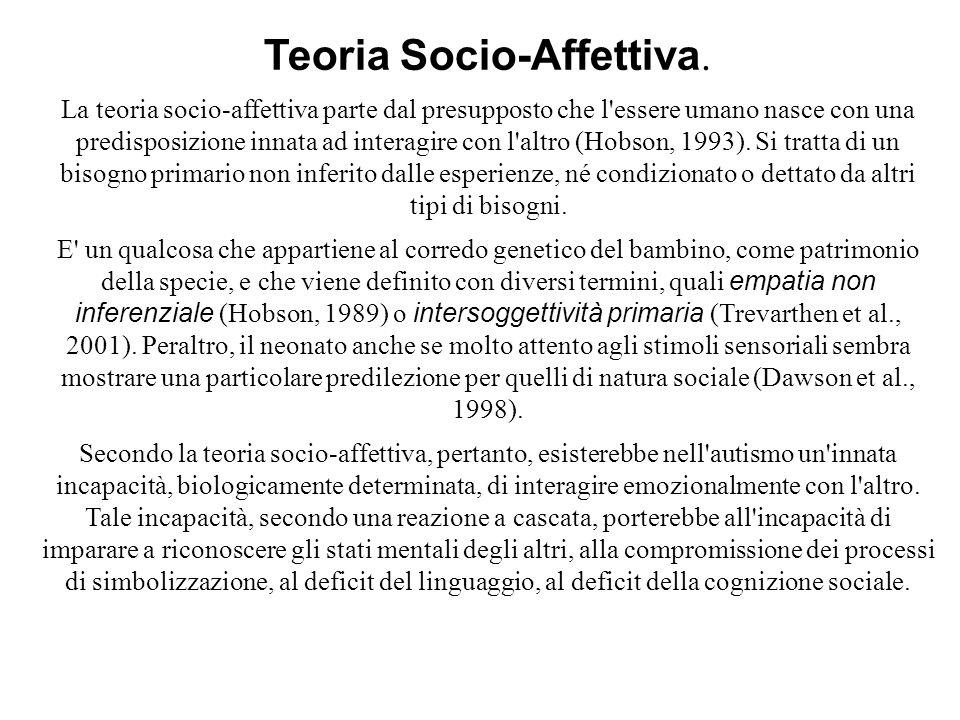 Teoria Socio-Affettiva. La teoria socio-affettiva parte dal presupposto che l'essere umano nasce con una predisposizione innata ad interagire con l'al