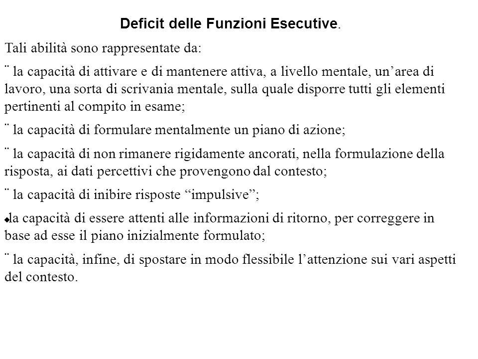 Deficit delle Funzioni Esecutive. Tali abilità sono rappresentate da: la capacità di attivare e di mantenere attiva, a livello mentale, unarea di lavo