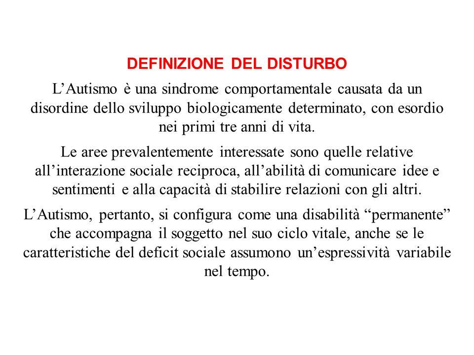 DEFINIZIONE DEL DISTURBO LAutismo è una sindrome comportamentale causata da un disordine dello sviluppo biologicamente determinato, con esordio nei pr