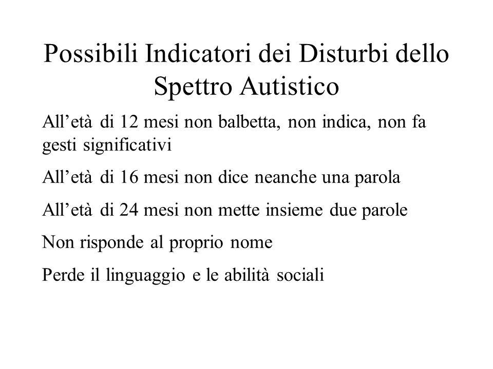 Possibili Indicatori dei Disturbi dello Spettro Autistico Alletà di 12 mesi non balbetta, non indica, non fa gesti significativi Alletà di 16 mesi non