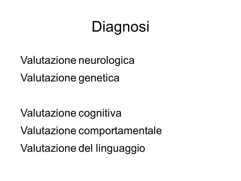 Diagnosi Valutazione neurologica Valutazione genetica Valutazione cognitiva Valutazione comportamentale Valutazione del linguaggio