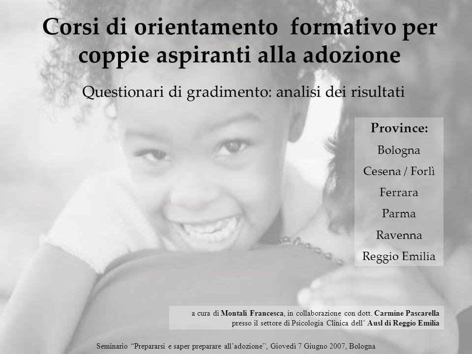 Questionari di gradimento: analisi dei risultati Corsi di orientamento formativo per coppie aspiranti alla adozione Province: Bologna Cesena / Forlì F