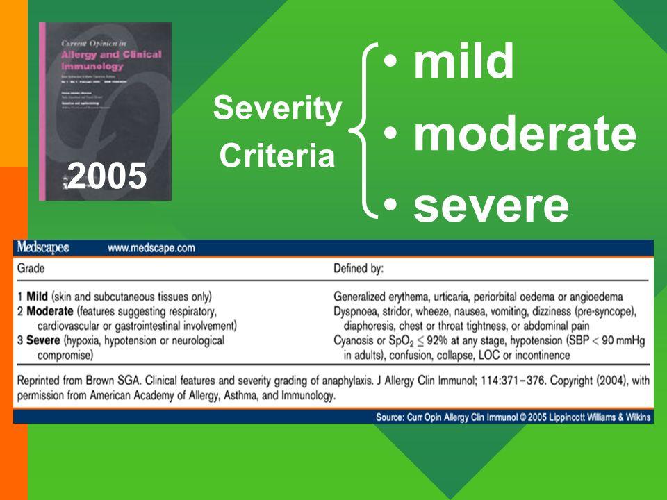 2005 mild moderate severe Severity Criteria