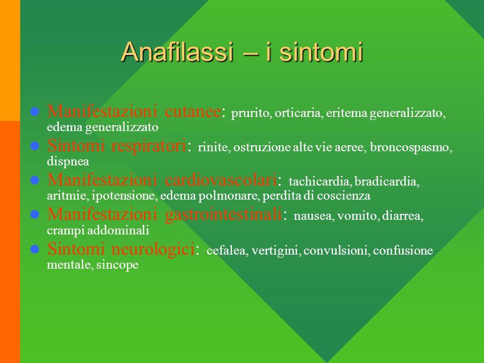 Anafilassi – i sintomi Manifestazioni cutanee: prurito, orticaria, eritema generalizzato, edema generalizzato Sintomi respiratori: rinite, ostruzione
