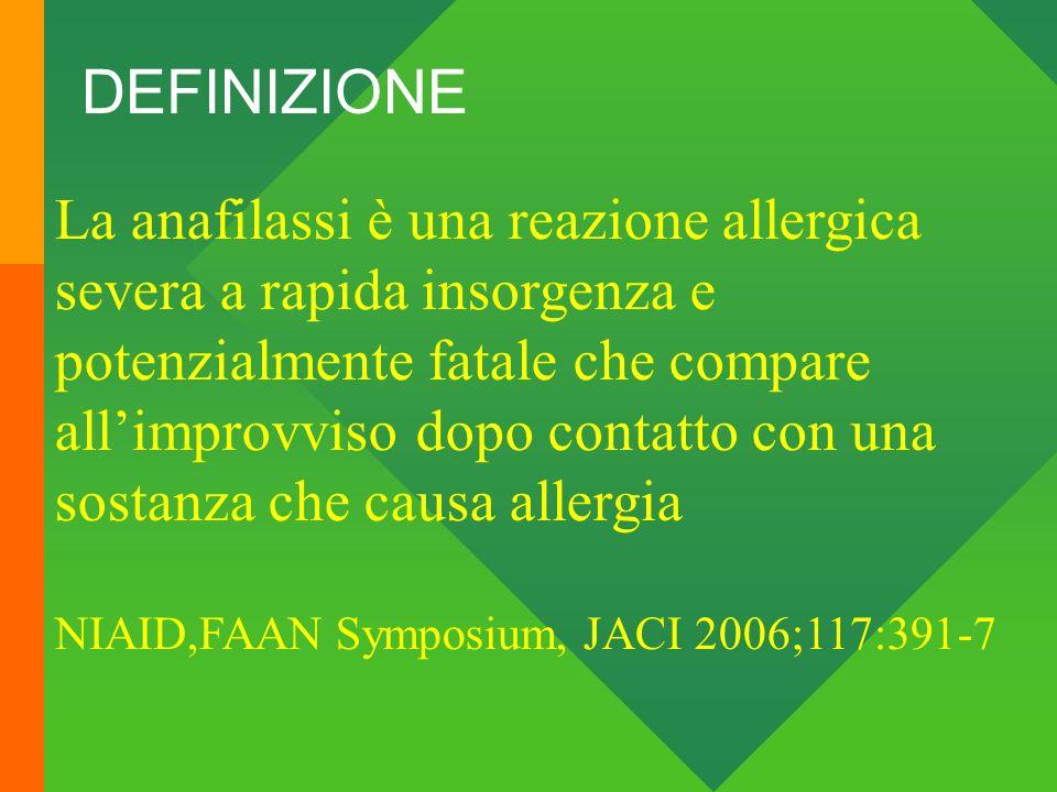 DEFINIZIONE La anafilassi è una reazione allergica severa a rapida insorgenza e potenzialmente fatale che compare allimprovviso dopo contatto con una