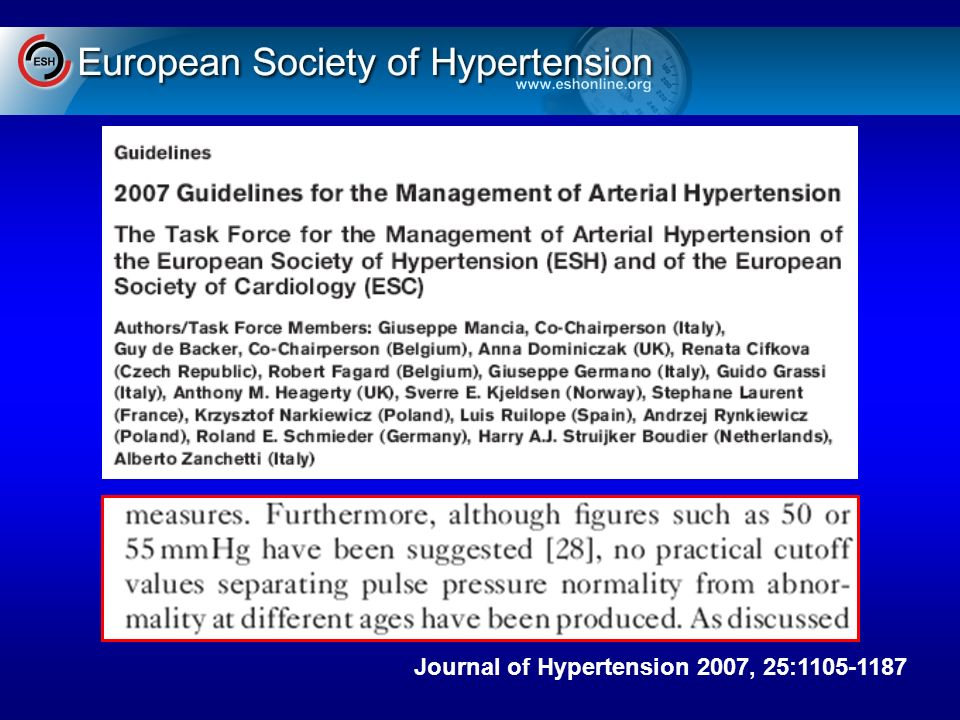 ESH PA differenziale Journal of Hypertension 2007, 25:1105-1187