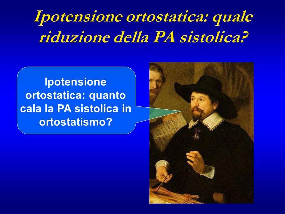 Ipotensione ortostatica: quale riduzione della PA sistolica? Ipotensione ortostatica: quanto cala la PA sistolica in ortostatismo?