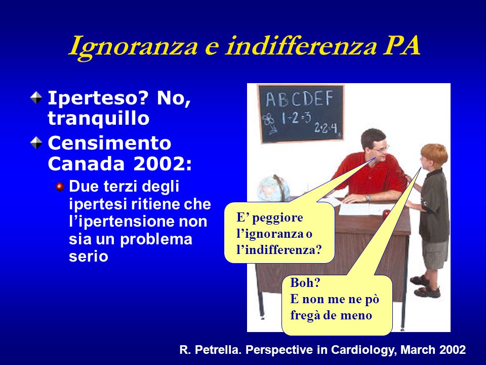 R. Petrella. Perspective in Cardiology, March 2002 Ignoranza e indifferenza PA Iperteso.