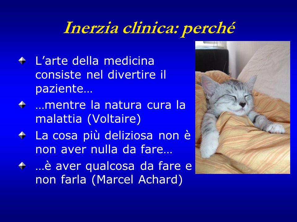 Inerzia clinica: perché Larte della medicina consiste nel divertire il paziente… …mentre la natura cura la malattia (Voltaire) La cosa più deliziosa n
