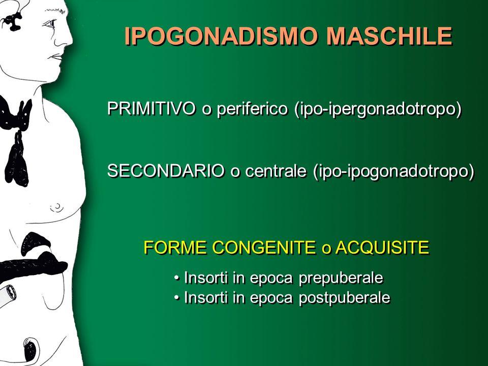 IPOGONADISMO MASCHILE PRIMITIVO o periferico (ipo-ipergonadotropo) SECONDARIO o centrale (ipo-ipogonadotropo) FORME CONGENITE o ACQUISITE Insorti in e