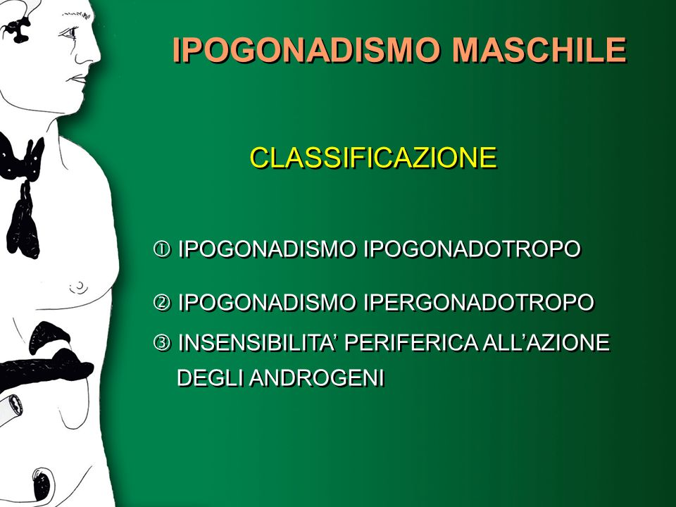 IPOGONADISMO MASCHILE CLASSIFICAZIONE IPOGONADISMO IPOGONADOTROPO IPOGONADISMO IPERGONADOTROPO INSENSIBILITA PERIFERICA ALLAZIONE DEGLI ANDROGENI IPOG