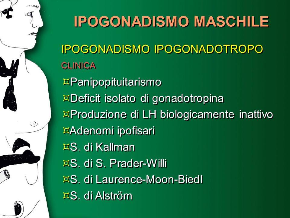 IPOGONADISMO MASCHILE IPOGONADISMO IPOGONADOTROPO Panipopituitarismo Deficit isolato di gonadotropina Produzione di LH biologicamente inattivo Adenomi