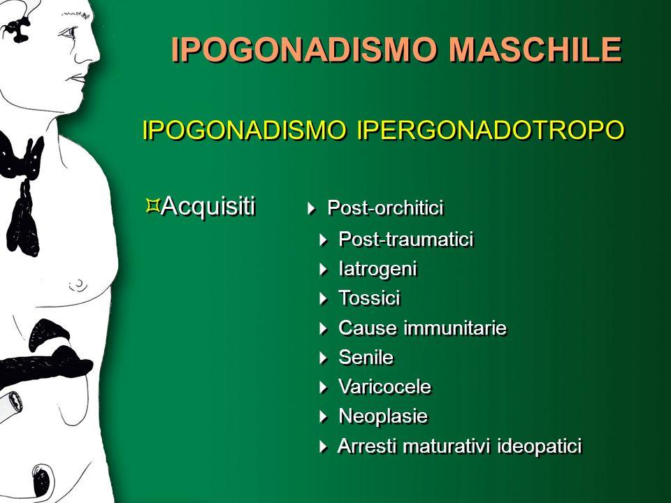 IPOGONADISMO MASCHILE IPOGONADISMO IPERGONADOTROPO Acquisiti Post-orchitici Post-traumatici Iatrogeni Tossici Cause immunitarie Senile Varicocele Neop