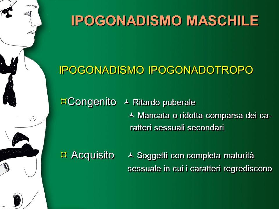 IPOGONADISMO MASCHILE IPOGONADISMO IPOGONADOTROPO Congenito Ritardo puberale Mancata o ridotta comparsa dei ca- ratteri sessuali secondari IPOGONADISM