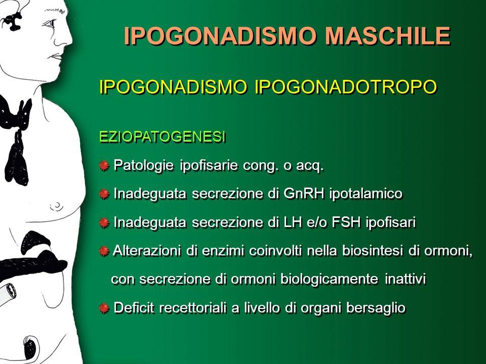 IPOGONADISMO MASCHILE IPOGONADISMO IPOGONADOTROPO EZIOPATOGENESI Patologie ipofisarie cong. o acq. Inadeguata secrezione di GnRH ipotalamico Inadeguat