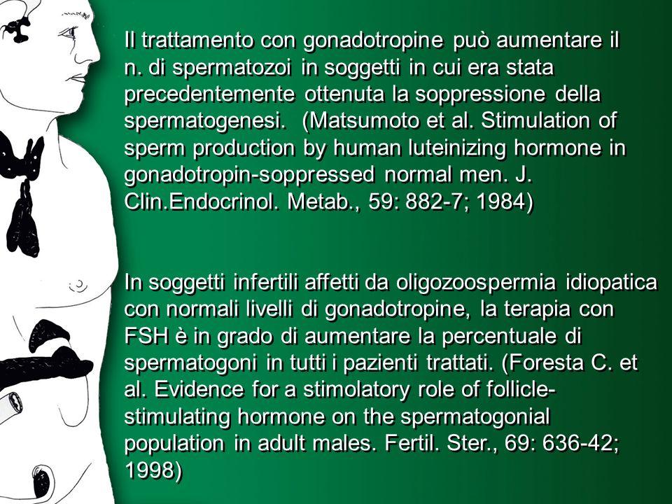 Il trattamento con gonadotropine può aumentare il n. di spermatozoi in soggetti in cui era stata precedentemente ottenuta la soppressione della sperma