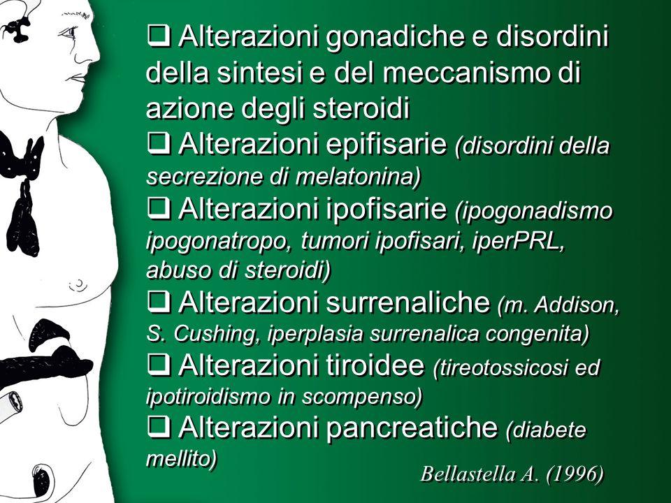 Alterazioni gonadiche e disordini della sintesi e del meccanismo di azione degli steroidi Alterazioni epifisarie (disordini della secrezione di melato