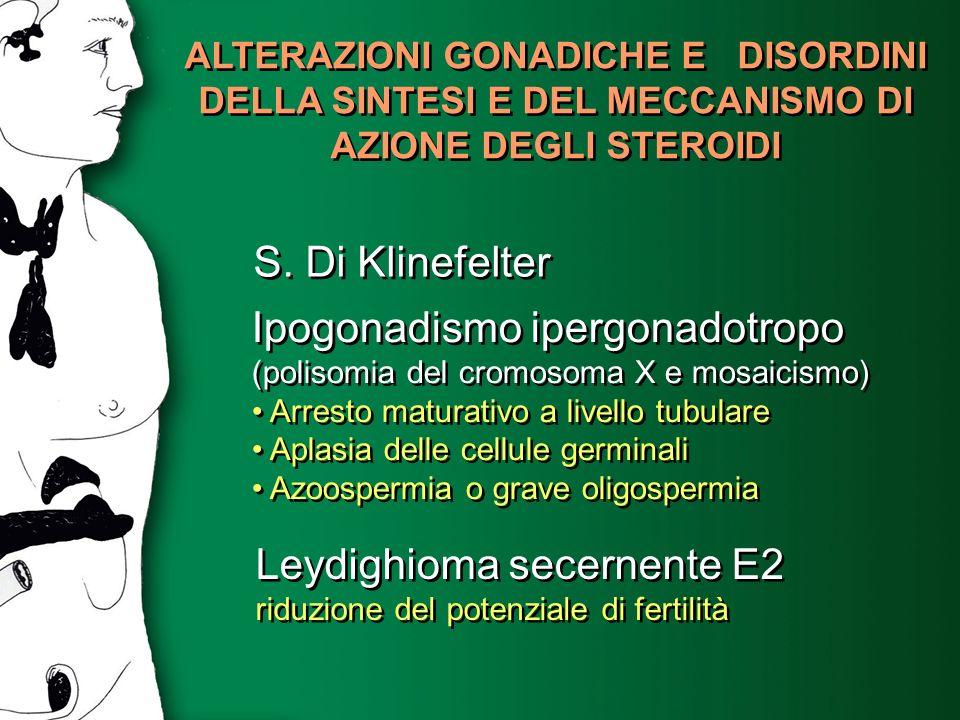 ALTERAZIONI GONADICHE E DISORDINI DELLA SINTESI E DEL MECCANISMO DI AZIONE DEGLI STEROIDI S. Di Klinefelter Ipogonadismo ipergonadotropo (polisomia de
